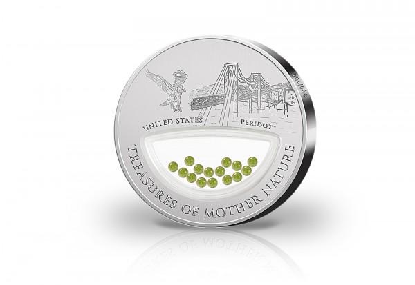 1 Dollar Silbermünze Treasures of Mother Nature USA mit Peridot Edelsteinen im Etui