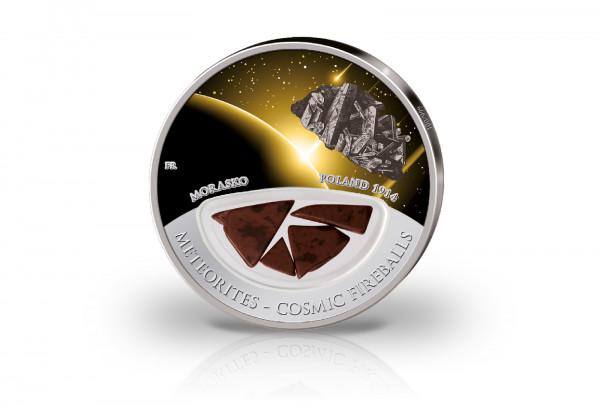 10 Dollar Silbermünze Meteoriten Einschlag Morasko mit Farbappliaktion im Etui
