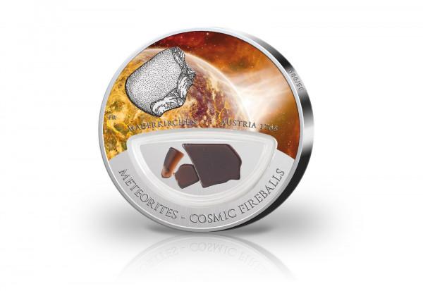 10 Dollar Silbermünze Meteoriten Einschlag Mauerkirchen mit Farbapplikation im Etui
