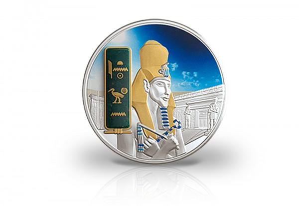 2 oz Silbermünze Echnaton Ägypten PP mit Gold und Palladiumapplikation