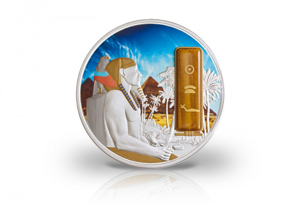 2 oz Silbermünze Chephren Ägypten PP mit Gold und Palladiumapplikation