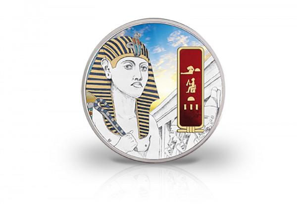 2 oz Silbermünze Hatschepsut Ägypten PP mit Gold und Palladiumapplikation