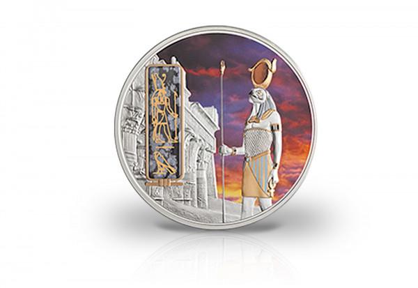 2 oz Silbermünze Horus Ägypten PP mit Gold und Palladiumapplikation
