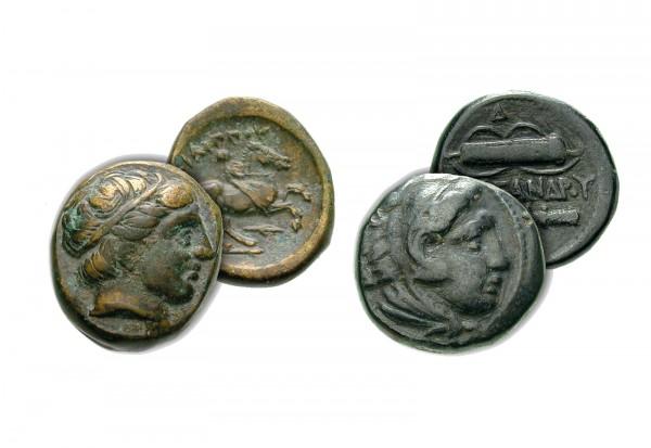 Makedonien Set 2 Bronzenmünzen Philipp II.+Alexander der Große ss