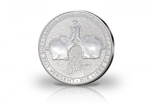 Küssende Ottifanten 1 oz Silber 2020