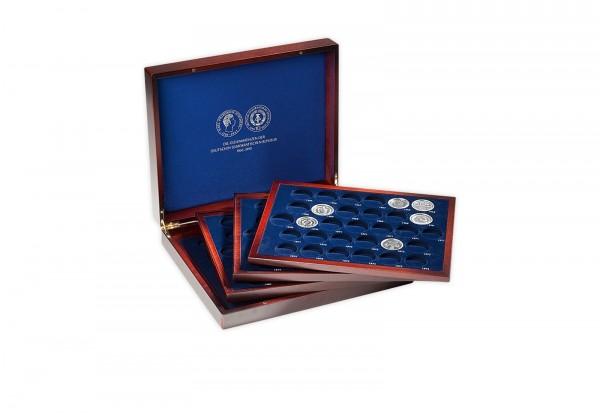 Holzkassette DDR Gedenkmünzen mit 4 Tableaus
