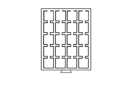 Stapel- / Münzbox mit 20 Fächern bis 50 mm z.B. für Quadrum Münzkapseln