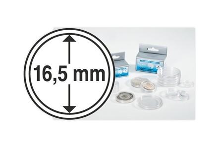 Leuchtturm Münzkapseln Cap16.5, 10er Pack, für Münzen bis 16,5mm Durchmesser z.B. 1 Euro Cent