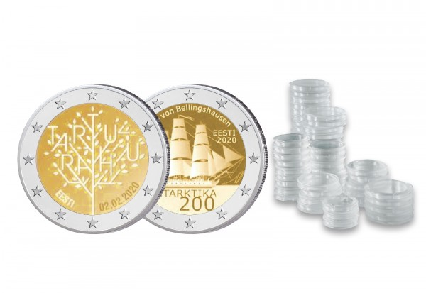 2 Euro 2020 Estland Spar-Set inkl. 50 Kapseln