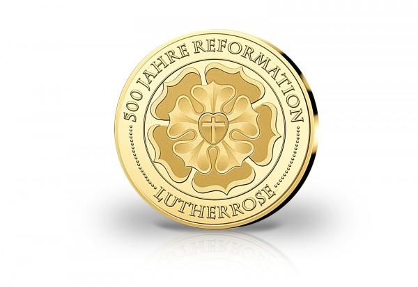 Goldausgabe 1/10 oz Lutherrose 500 Jahre Reformation PP im Etui