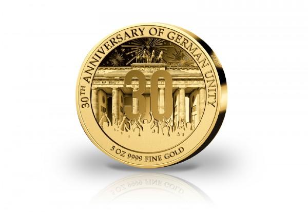 30 Jahre Deutsche Einheit 5 oz Gold 2020 PP im Etui