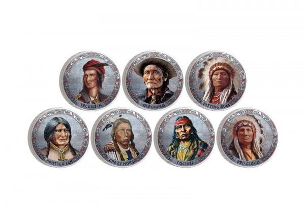 Berühmte Indianerhäuptlinge 7er Kollektion mit Farbmotiv im Etui