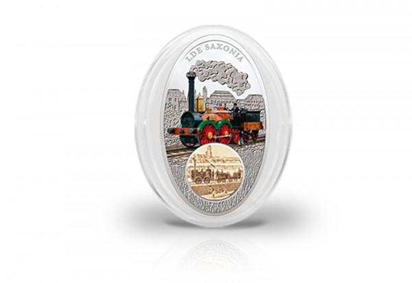 10 Dollar Silbermünze Saxonia mit Glasintarsie und Farbapplikation im Etui