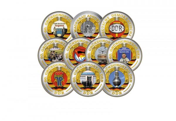 DDR Münzkollektion mit Farbmotiven