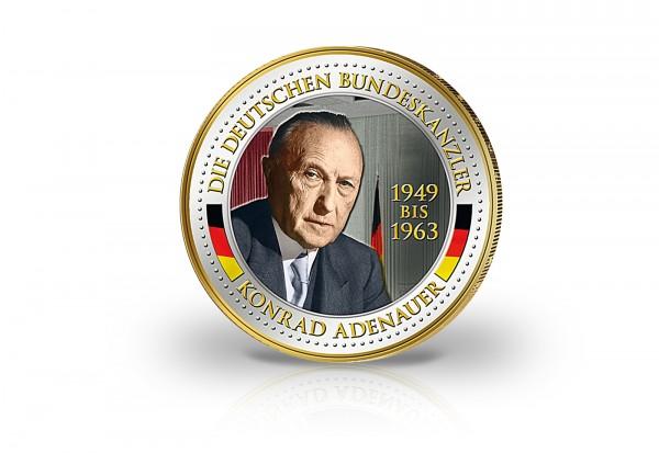 2 Euro Bundeskanzler Konrad Adenauer veredelt mit Kaltemaille und 24 Karat Goldauflage