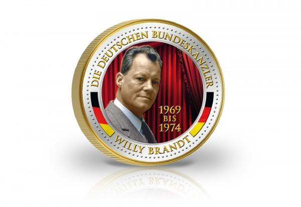 2 Euro Bundeskanzler Willy Brandt veredelt mit Kaltemaille und 24 Karat Goldauflage