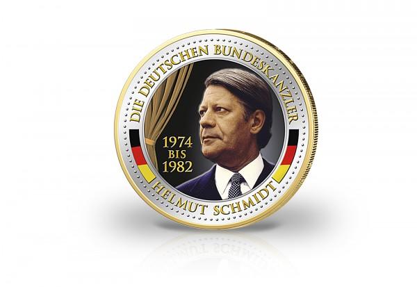 2 Euro Bundeskanzler Helmut Schmidt veredelt mit Kaltemaille und 24 Karat Goldauflage