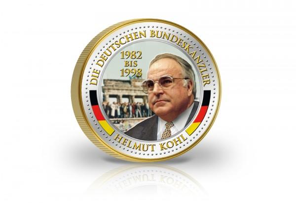 2 Euro Bundeskanzler Helmut Kohl veredelt mit Kaltemaille und 24 Karat Goldauflage