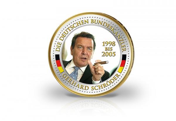 2 Euro Bundeskanzler Gerhard Schröder veredelt mit Kaltemaille und 24 Karat Goldauflage