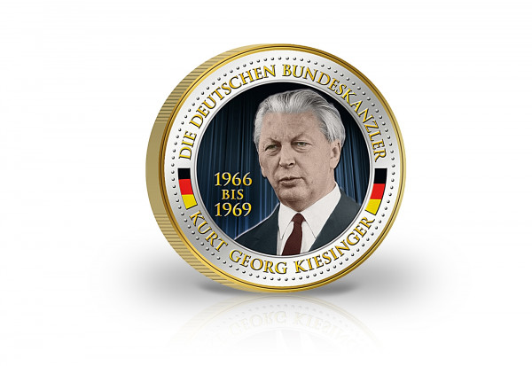 2 Euro Bundeskanzler Kurt Georg Kiesinger veredelt mit Kaltemaille und 24 Karat Goldauflage
