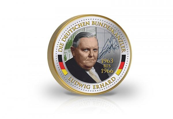 2 Euro Bundeskanzler Ludwig Erhard veredelt mit Kaltemaille und 24 Karat Goldauflage