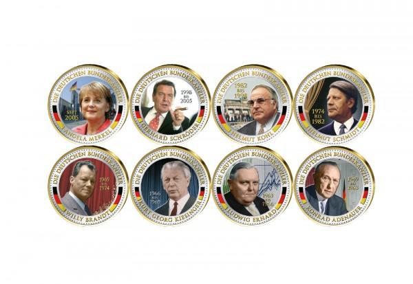2 Euro Bundeskanzler 8er Kollektion veredelt mit Kaltemaille und 24 Karat Goldauflage