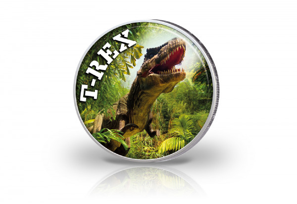 2 Euro mit Farbmotiv Dinosaurier Tyrannosaurus Rex
