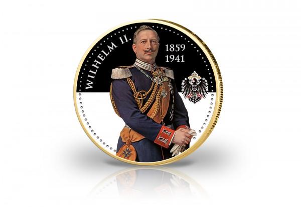 2 Euro Wilhelm II. mit Kaltemaille und 24 Karat Goldauflage