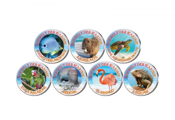 Tierwelt der Karibik 7er Kollektion mit Farbmotiv im Etui inkl. Zertifikat