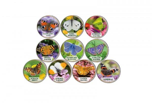Schmetterlinge I. 10er Kollektion mit Farbmotiv im Etui inkl. Zertifikat