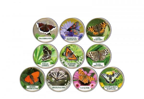 Schmetterlinge II 10er Kollektion mit Farbmotiv im Etui inkl. Zertifikat