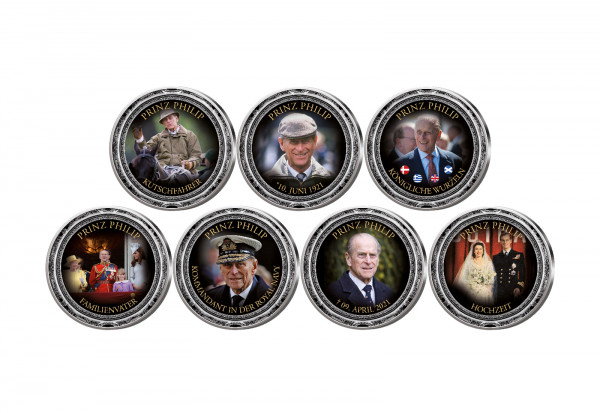 Prinz Philip 7er Kollektion mit Farbmotiv im Etui inkl. Zertifikat