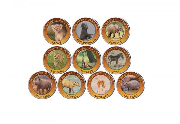 Tierbabys Afrika 10er Kollektion mit Farbmotiv im Etui inkl. Zertifikat