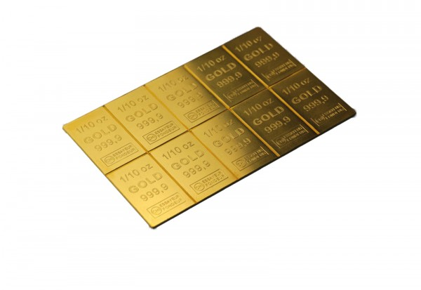 Goldbarren 1 oz Combibar mit 10x 1/10 oz