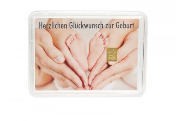 Goldbarren 1 g in Geschenkkarte: Geburt