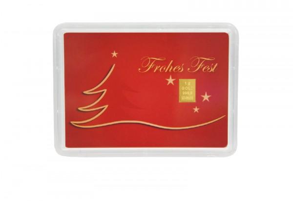 Geschenke F303274r Frauen Zu Weihnachten.Goldbarren 1 G In Geschenkkarte Weihnachten