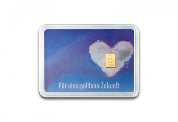 Goldbarren 1 g in Geschenkkarte: Goldene Zukunft