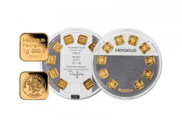 Goldbarren 10 g Heraeus Multidisc mit 10x 1 g