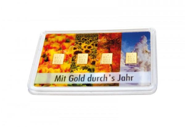 Goldbarren 4x 1 g Mit Gold durchs Jahr im Blister