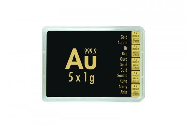Goldbarren 5 g Combibar mit 5x 1 g