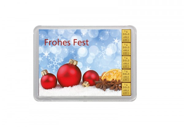 Goldbarren 5 g Frohes Fest mit Flip-Bild