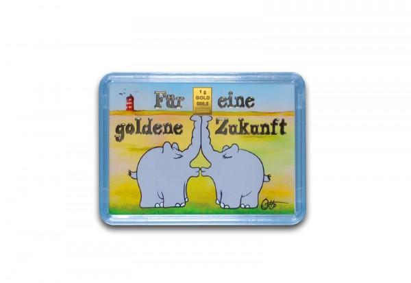 Goldbarren 1 g Küssende Ottifanten