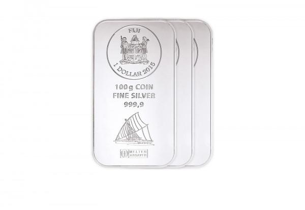 Silber Münzbarren 100 g Fiji Spar-Set