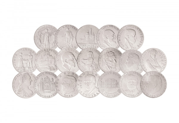 Komplettset 25 Schilling Silber 1955-1973 Österreich