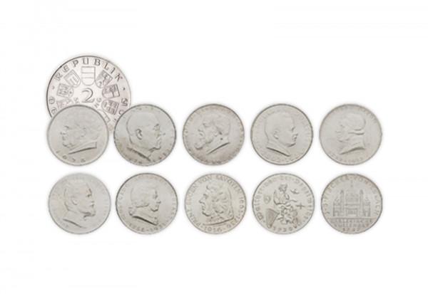2 Schilling Silbermünzen 1928-1937 Österreich im 10er Set
