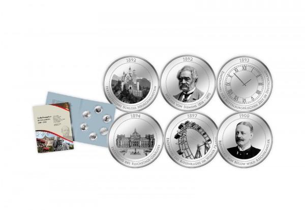 6 Gedenkausgaben 1891-1900 mit Feinsilberauflage