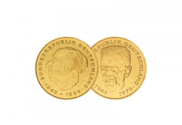 2 DM Jahr u. Wahl BRD Schumacher und Heuss mit 24 Karat Gold