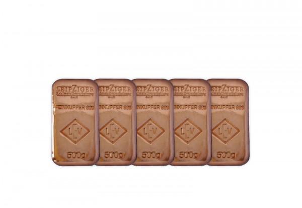 Kupferbarren 500 g im 5er Set