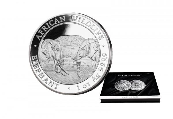 African Wildlife Serie 1 oz Silber 2020 Somalia Elefant mit passender Münzkassette