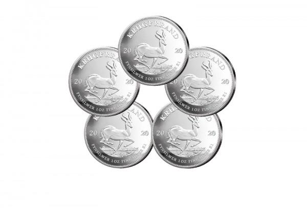 Krügerrand 1 oz Silber 2020 Südafrika im 5er Spar-Set